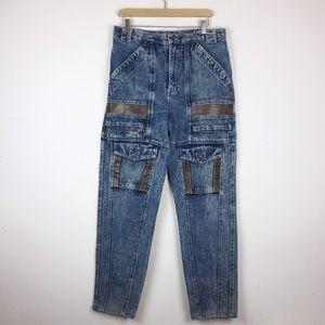 Vintage high waisted acid washed jeans leather